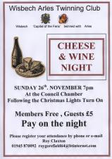 Wisbech Arles Twinning Club Cheese & Wine 🧀🍷 CANCELLED