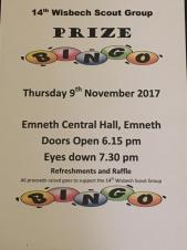 Charity Bingo at Emneth for 14th Wisbech Scouts