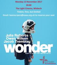 WorldKindnessDay free East Anglian Air Ambulance charity screening of Wonder SOLD OUT