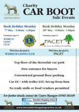 Horsefair Bank Holiday Monday car boot in aid of FACET