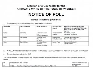 Notice of poll for 7 June