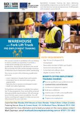 Warehouse and Fork Lift Training with guaranteed Job Interviews