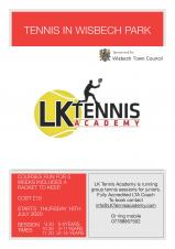 Wisbech Town Council supports LK Tennis Academy for its Fun Tennis in the Park sessions.