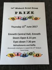 Prize Bingo in aid of 14th Wisbech Scouts