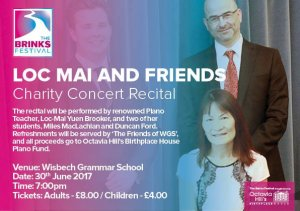 Loc Mai and friends are performing a charity concert at the Wisbech Grammar School
