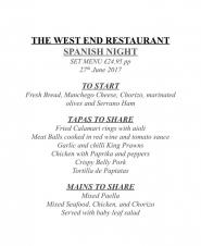 Spanish night at the West End Restaurant
